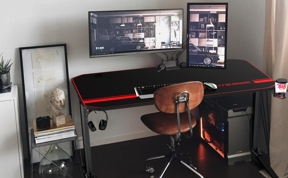 Amazon Com Vitesse 44 Inch Gaming Desk Racing Style Computer Desk With Free Mouse Pad Usb Gaming Handle Rack T Shaped Professional Gamer Game Station With Cup Holder Headphone Hook Black Kitchen