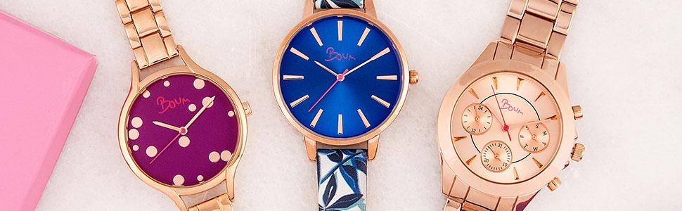 boum, watches, wristwatch, rose gold, pink, blue, gold, time