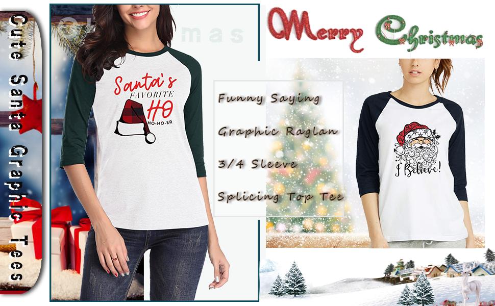 Anbech Women's Santa's Claus Christmas Shirt Funny Saying Graphic Raglan 3/4 Sleeve Splicing Top Tee