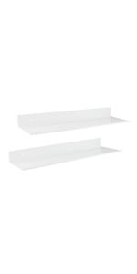 Wall Mounted Z metnal Aluminum 2 Pack Modern Floating Shelves,Picture Ledge Display Wall Shelf Bathroom Shelf White 16 x 5 inch