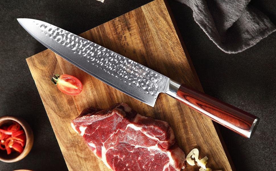 Compra YARENH Cuchillos de Cocina Profesionales 25cm, Cuchillo de Cocina de Acero de Japonés Damasco, Cuchillo de Chef Ultra Filoso, Cuchillo Japones Damasco HYZ-Serie en Amazon.es