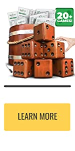yard dice with wooden bucket