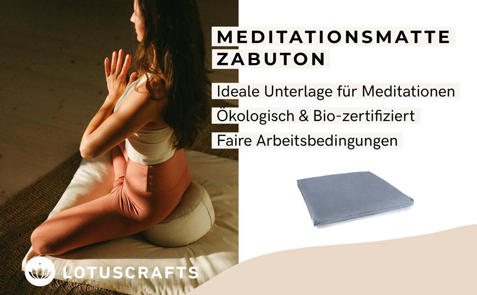 Lotuscrafts Meditationsmatte Zabuton Deluxe Extra Dick GOTS Zertifiziert