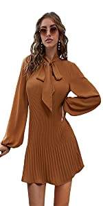 Tie Neck Lantern Long Sleeve Pleated Party Cocktail Dress