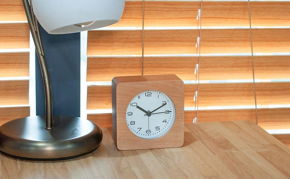 desk clock wooden