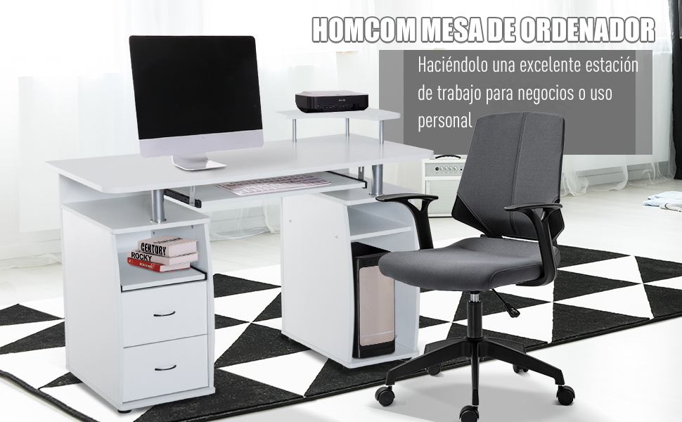 HOMCOM Mesa de Ordenador PC Escritorio de Oficina para Hogar ...