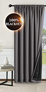 100% blackout rod pocket curtains