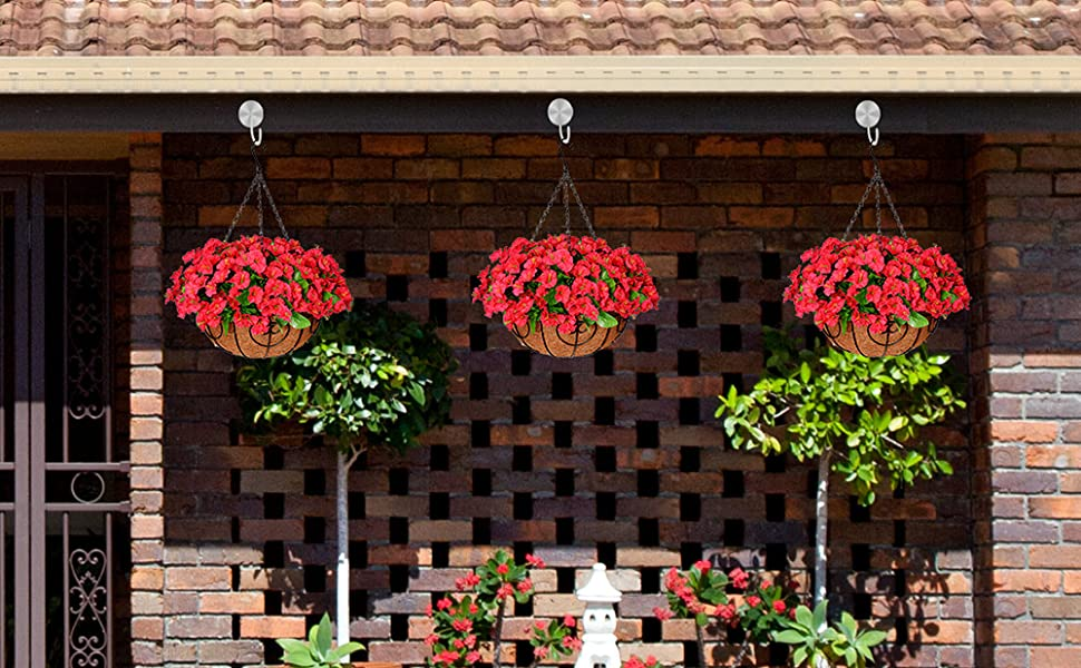 Hanging Plants in Coconut Lining Hanging Baskets for Outdoors Indoors Courtyard Decor