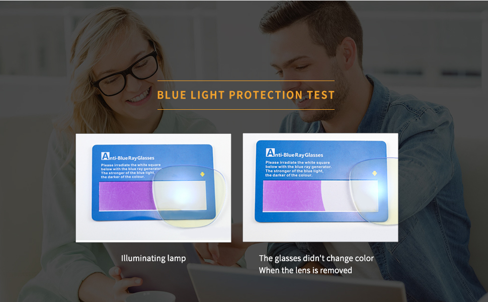 PAZELY blue light proof test area, effective blocking