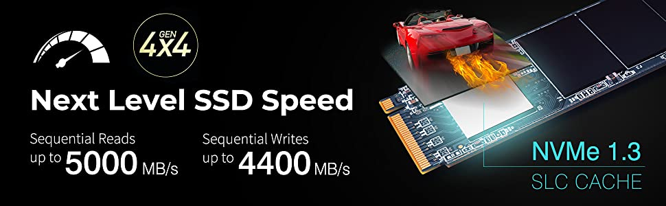 Silicon Power 1TB NVMe 4.0 Gen4 PCIe M.2 SSD R//W up to 5,000//4,400 MB//s SP01KGBP44US7005