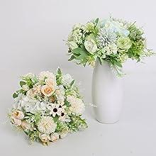 faux green silk flower for wedding bouquet