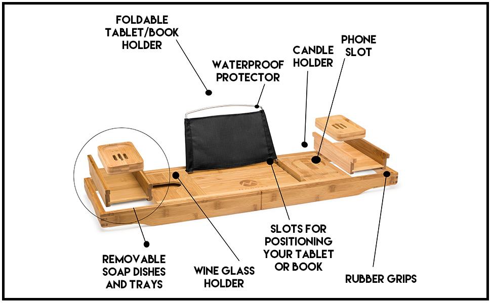 mosa natural bamboo bathtub tray bath caddy book wine glass holder bath caddy tray for tub kids