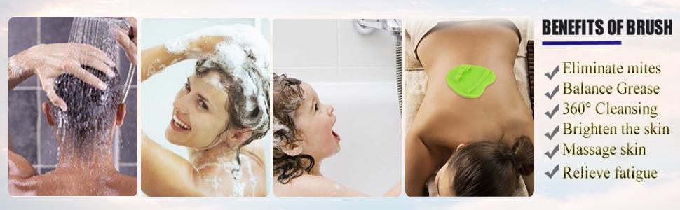 Silicone Body Brush Shower Scrubber Gentle exfoliation Glove