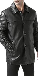 """BGSD Men's """"Samuel"""" New Zealand Lambskin Leather Car Coat"""