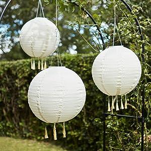 Lights4fun – Juego de 3 Farolillos Chinos Blancos a Solares con LED Blanco Cálido para Exteriores: Amazon.es: Hogar