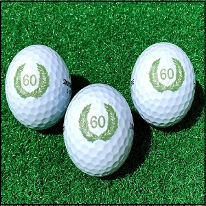 Set di Palline da Golf Compleanno 60 con Happy Birthday Motiv in