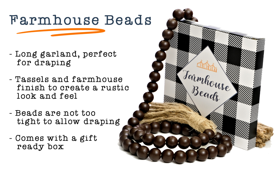 short prayer beads boho table decor rustic beads farmhouse beads with tassel, tier tray decor items