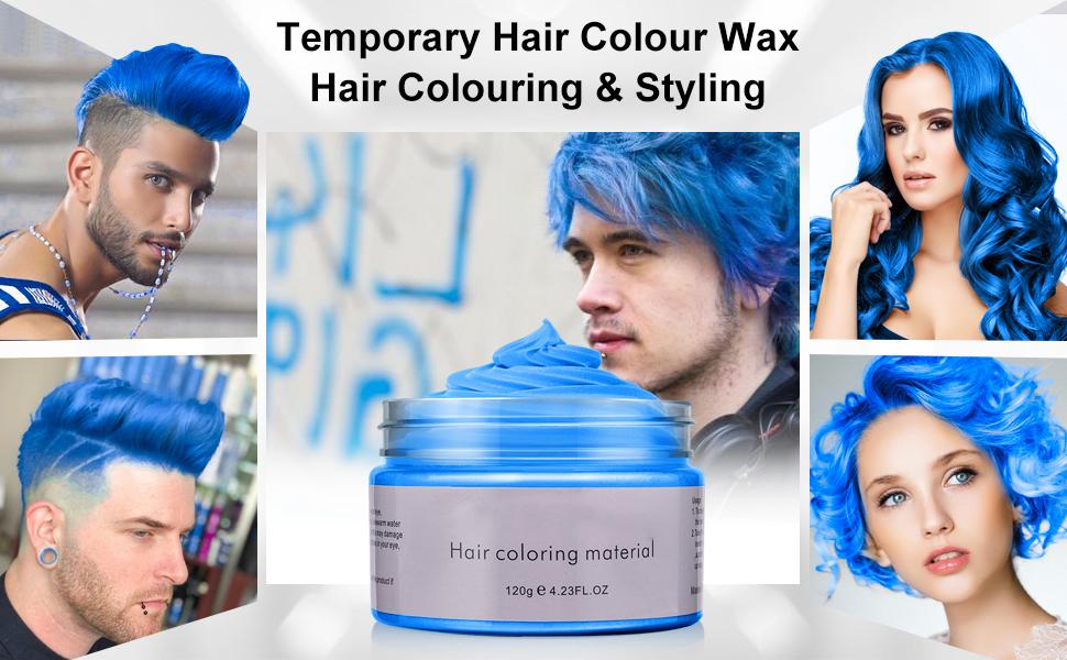Amazon Com Hair Color Wax Hair Modelling Wax Natural Matte Temporary Hair Style Hair Cream Wax For Men And Women Washable Hair Dye Wax Blue Beauty