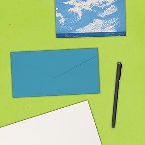 blue monarch colored envelope