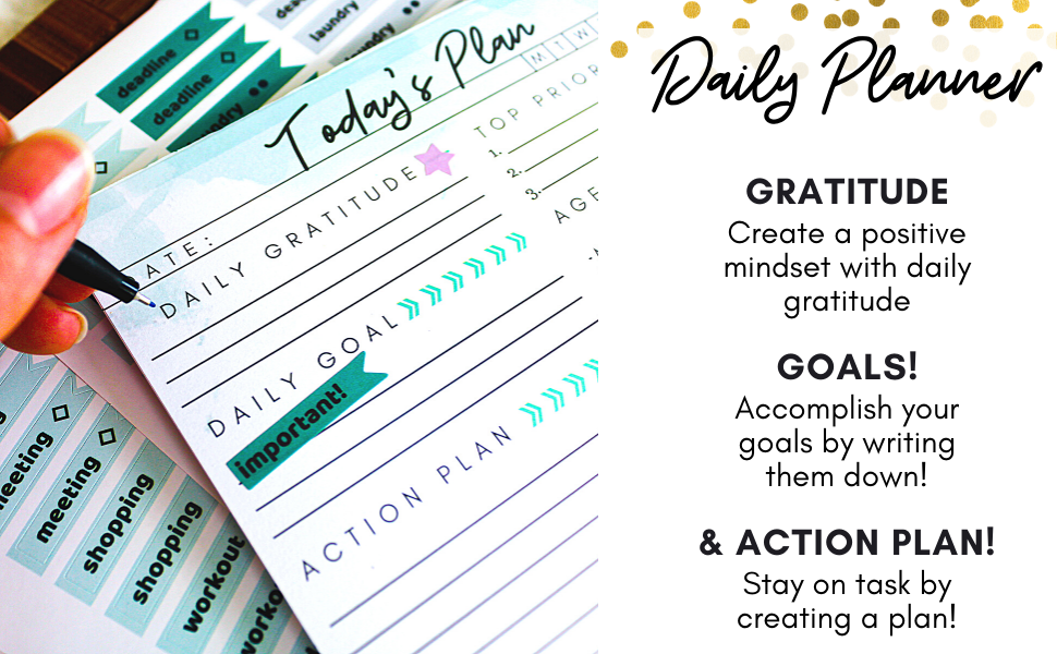 Daily gratitude, goals, and action plan to stay organized