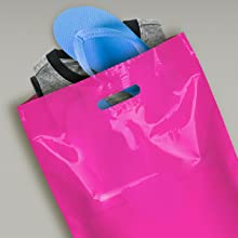 100 Extra Small Pink Punch Out Handle Gift Fashion Party Plastic Carrier Bags
