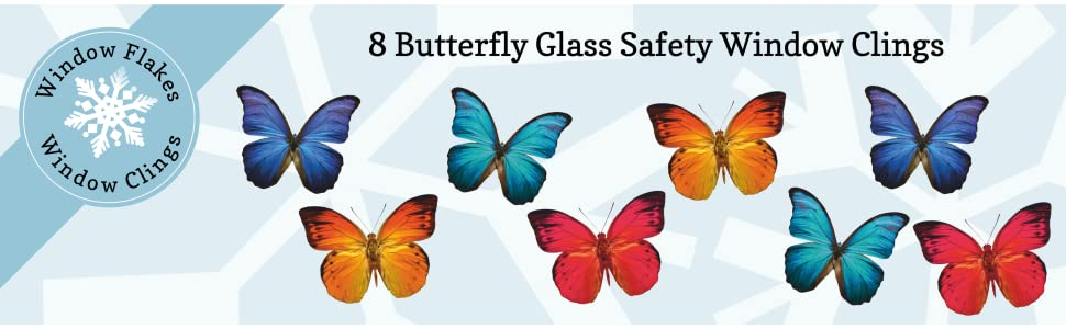 8 Butterfly Window Cling sticker decals to prevent bird strikes.