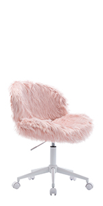 icy pink fuzzy task chair