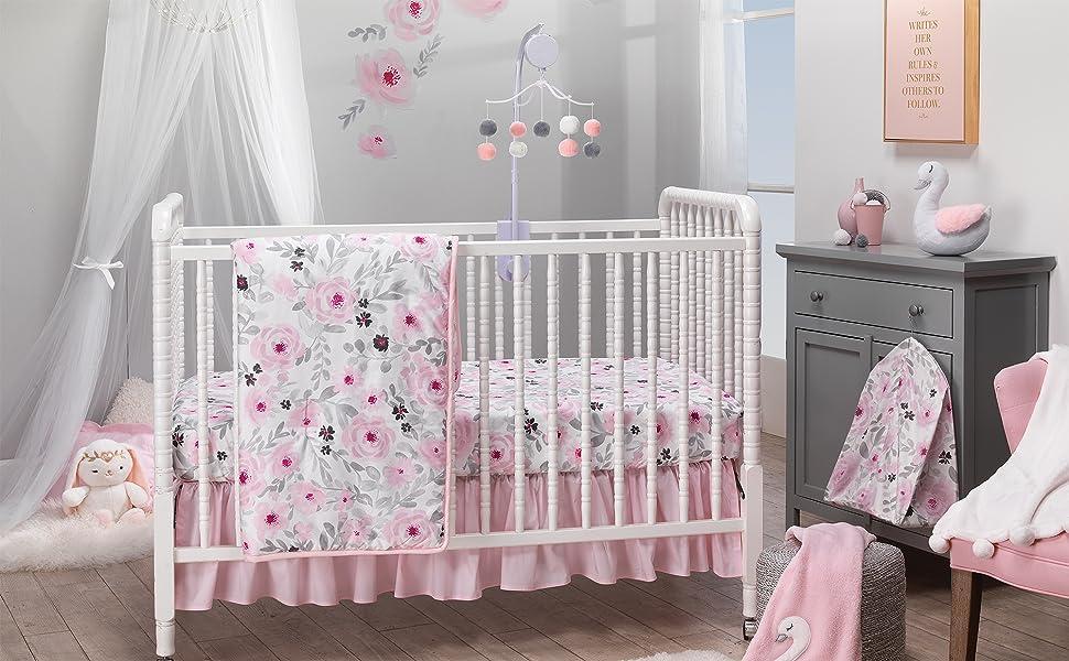 Amazon Com Bedtime Originals Blossom Pink Watercolor Floral 3 Piece Baby Crib Bedding Set Baby