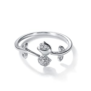 SILVER FLOWER WITH DIAMOND