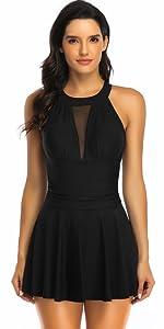 V high neck mesh skirted swimdrees women plus size one piece  bathing suit tummy control swimwear