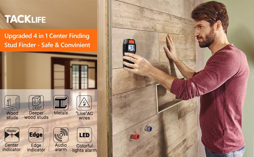 InLife Detector de Metal Retroiluminaci/ón LCD Madera y AC Cable Esc/áner de Pared Cl/ásico y Multifuncional Bater/ía Incluida Indicaci/ón de Distancia Detector de Pared