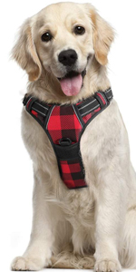rabbitgoo dog plaid harness adjustable for large dogs breeds walking vest chest dog harness