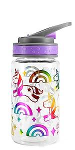 Flip straw lid water bottle