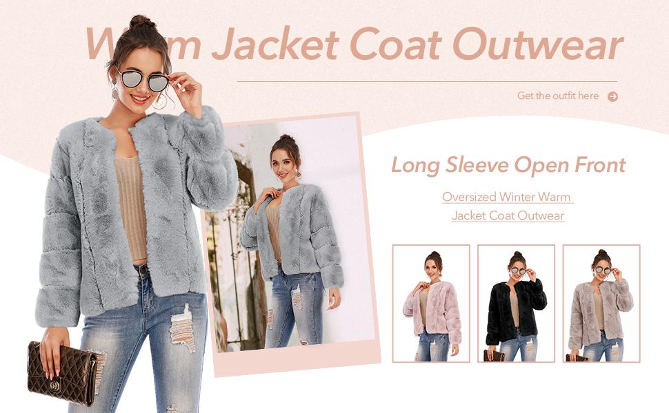 fuzzy fur coat for women