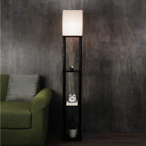 Modern Solid Wood LAMP with 3 Tier Storage in Walnut Finish SPN-FOR1