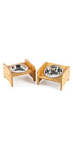 Set of 2 Single Raised Pet Bowls