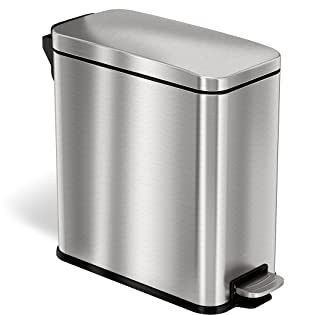 stainless steel trash can garbage bin rubbish waste receptacle step pedal on house home kitchen