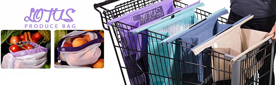 Lotus Trolley Bags -set of 4 -w/LRG COOLER Bag & Egg/Wine holder! Reusable Grocery Cart Bags sized for USA. Eco-friendly 4-Bag Grocery Tote. (Purple, ...