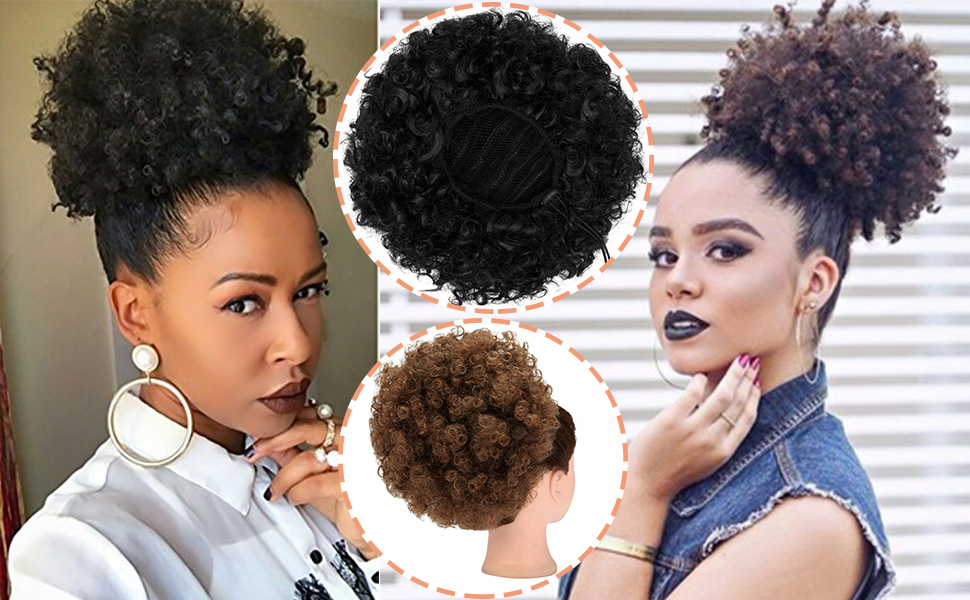 Afro Puff Drawstring Ponytail Synthetic Short Afro Kinkys Curly Afro Bun Extension