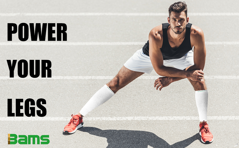 power your legs with bams calf compression sleeves