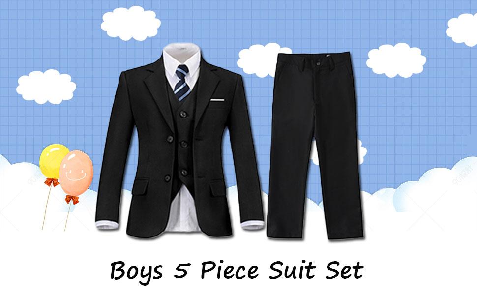 5-Piece Suit Set Includes Jacket, Pants, Vest, Shirt and Tie