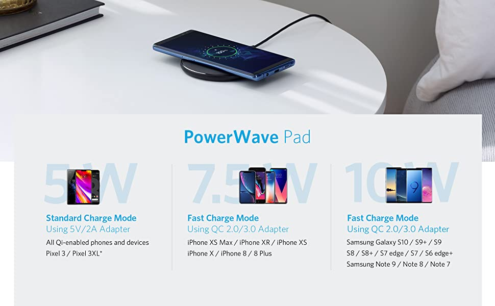 Anker 10W Wireless Charger,Qi-Certified Powerwave Pad Upgraded,7.5W for iPhone,10W Fast-Charging for Galaxy S10/S9/S8/Note 9etc 1