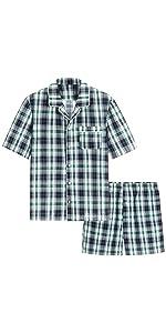 men cotton plaid short sleeves sleep shirt shorts pajamas set summer soft loungewear