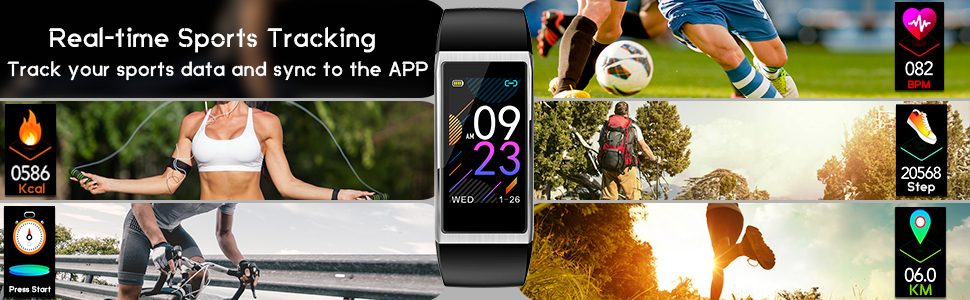 Fitness Tracker Smart watch with Sport activity tracker smart bracelet real time sports tracking