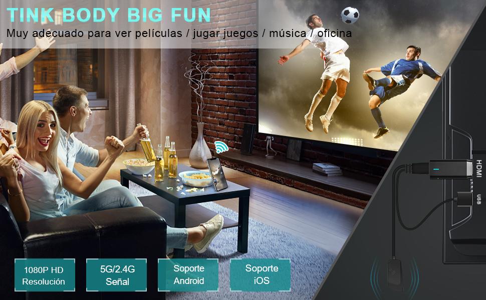 Miracast HDMI WiFi Inalámbrico Dongle, DIWUER 5G / 2.4G HDMI 1080P Adaptador de Receptor para Android / iPhone / iPad / Windows a Proyector / Monitor/ HDTV, Soporte Miracast DLNA Airplay: Amazon.es: Electrónica