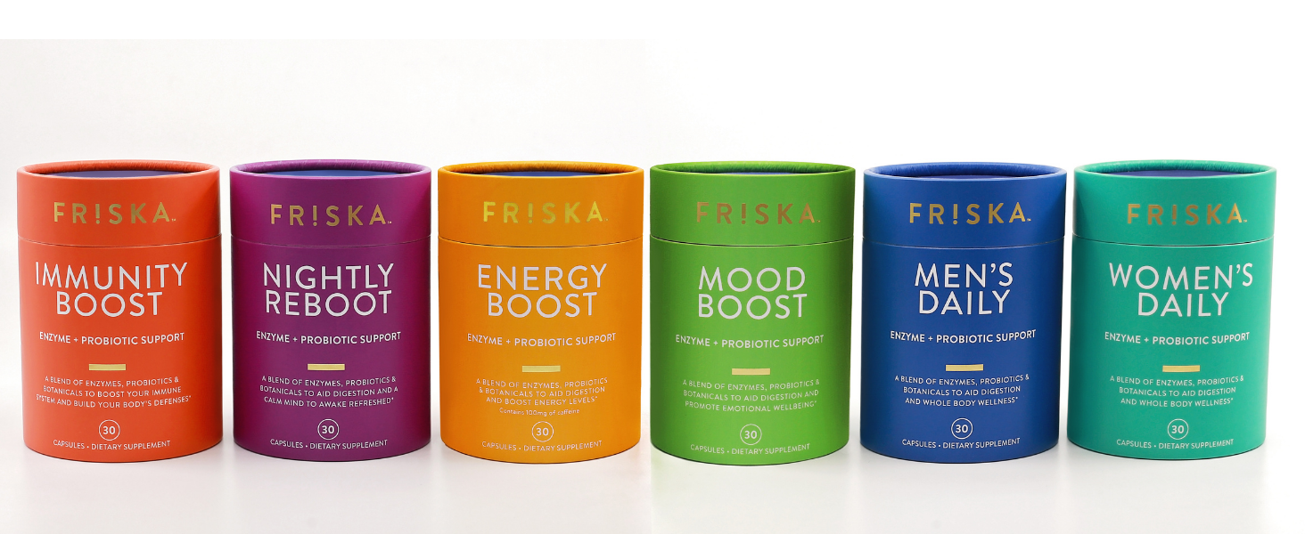FRISKA supplement digestive enzymes and probiotic capsules support gut health and beat the bloating