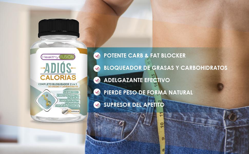 ADIÓS CALORÍAS Carb & Fat Blocker | Potente Bloqueador 2 en 1 de Carbohidratos y Grasas | Adelgazante Efectivo para mujeres y hombres | Compatible con ...
