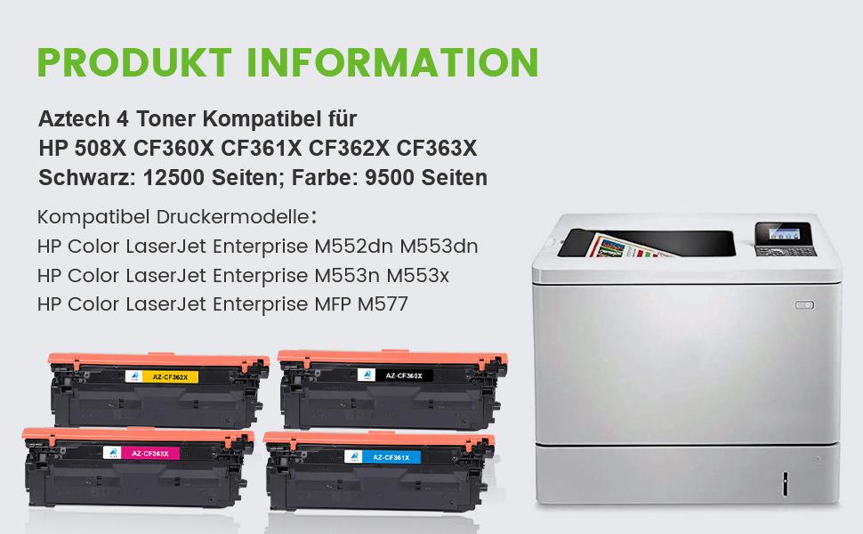 Aztech Kompatibel Toner Cartridge Replacement Für Hp 508x 508a Cf360x Cf361x Cf362x Cf363x Toner Für Hp Color Laserjet Enterprise M552dn M553dn M553n M553x Hp Color Laserjet Enterprise Mfp M557 Bürobedarf