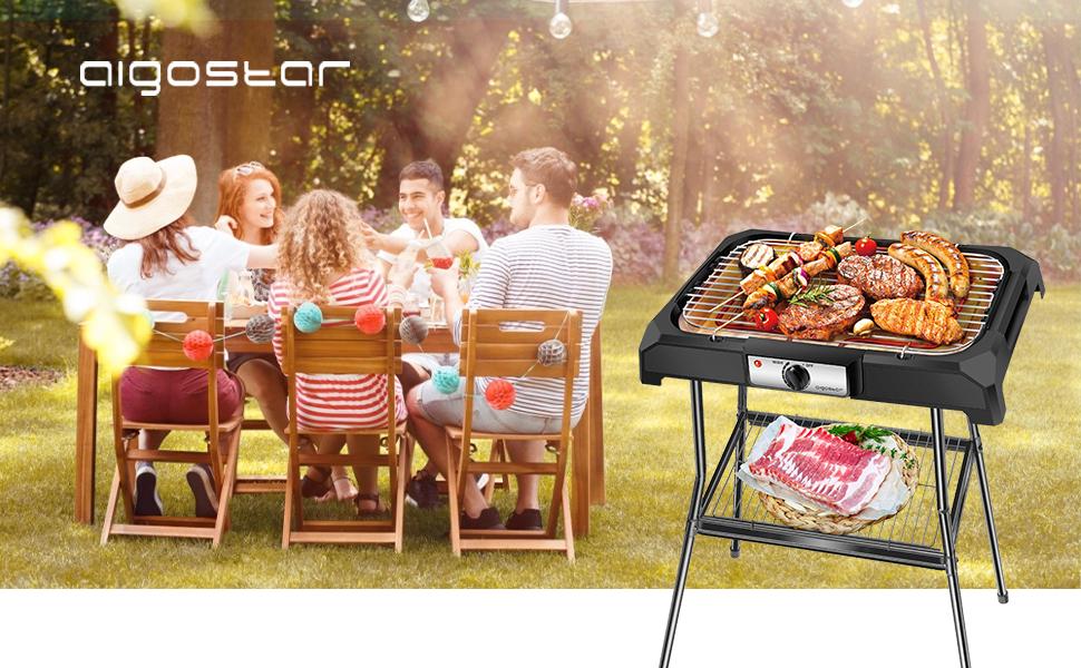 Aigostar Lava Pro Grill électrique barbecue avec support