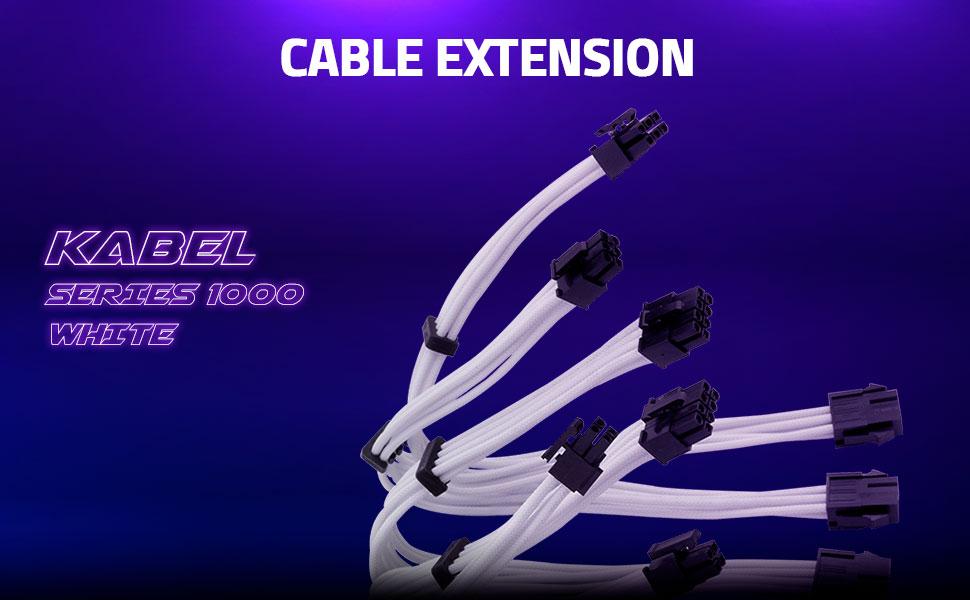 Yeyian PSU Cable Extension Kabel Series 1000 White - SKU: KS1000B